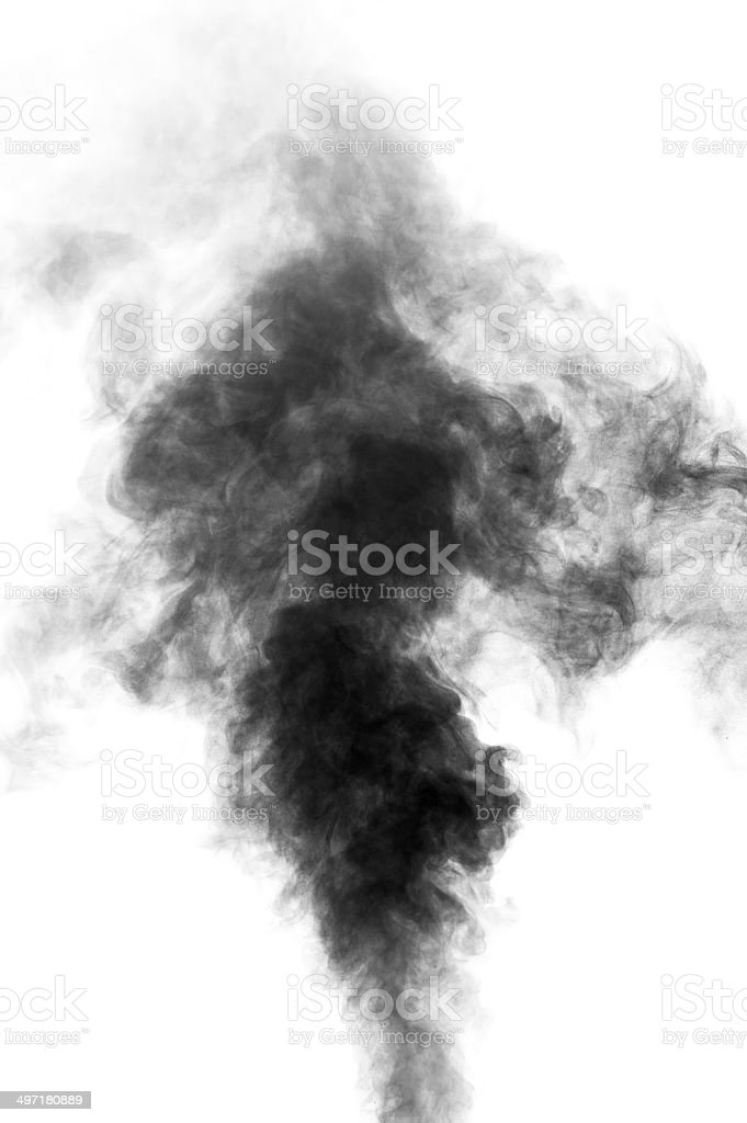 Black steam looking like smoke on white background royalty-free stock photo
