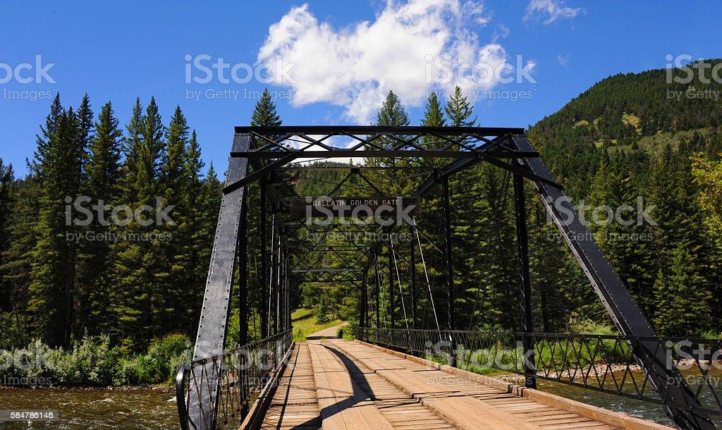 Black Steel spans Gallatin River stock photo