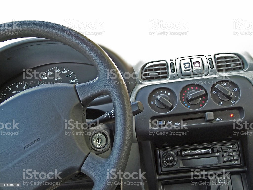 Black steering wheel with airbag stock photo