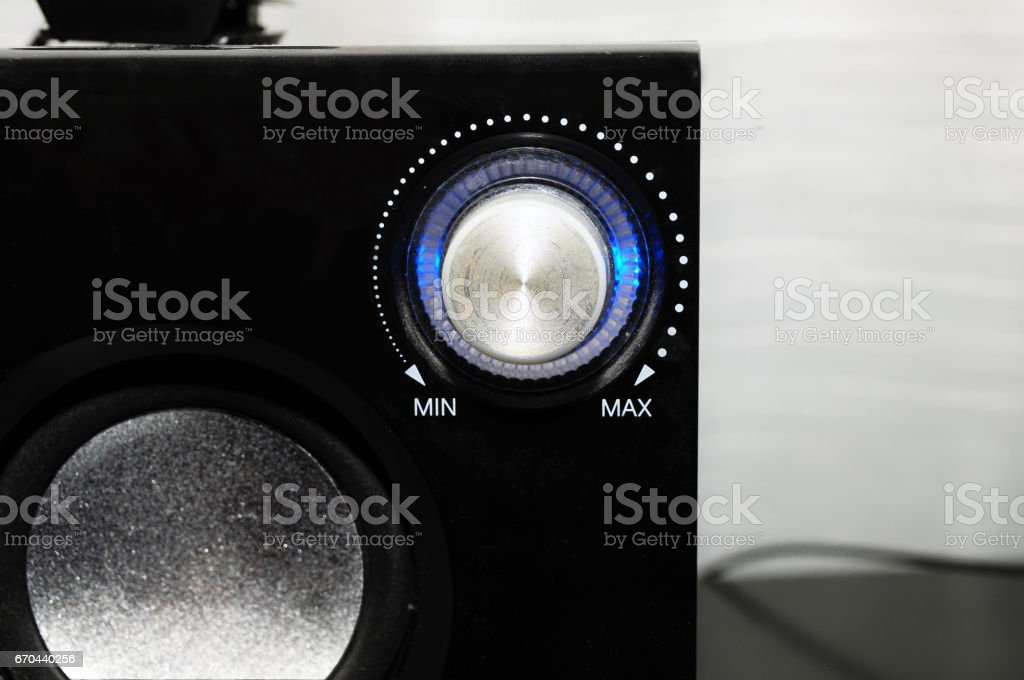 Black stereo with master volume switch stock photo