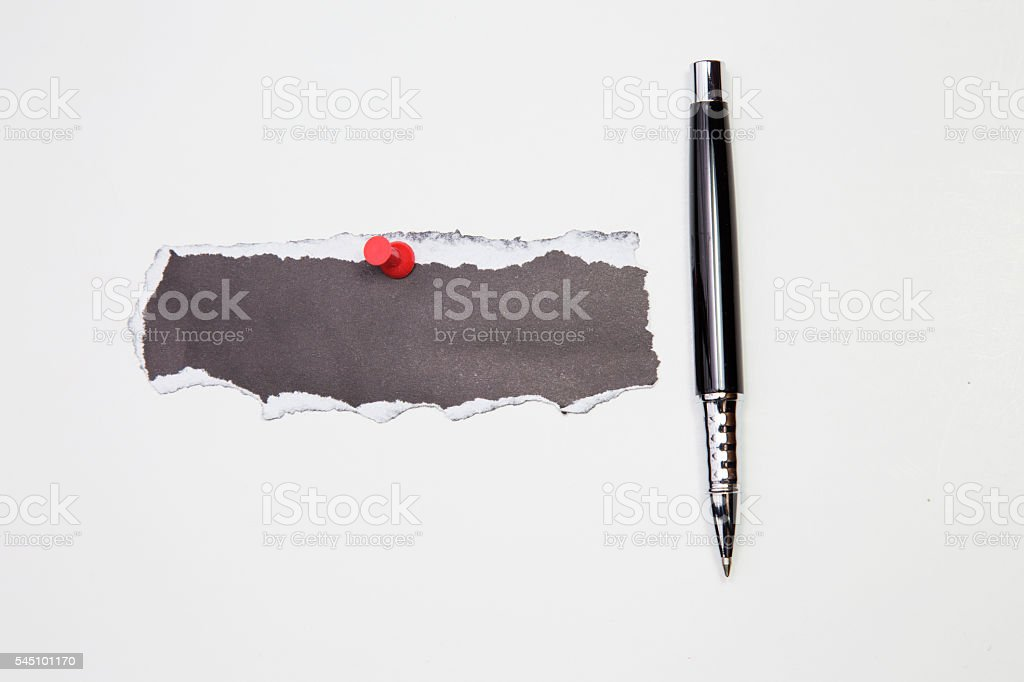 black Sticky note with seo plan and pen on table. stock photo