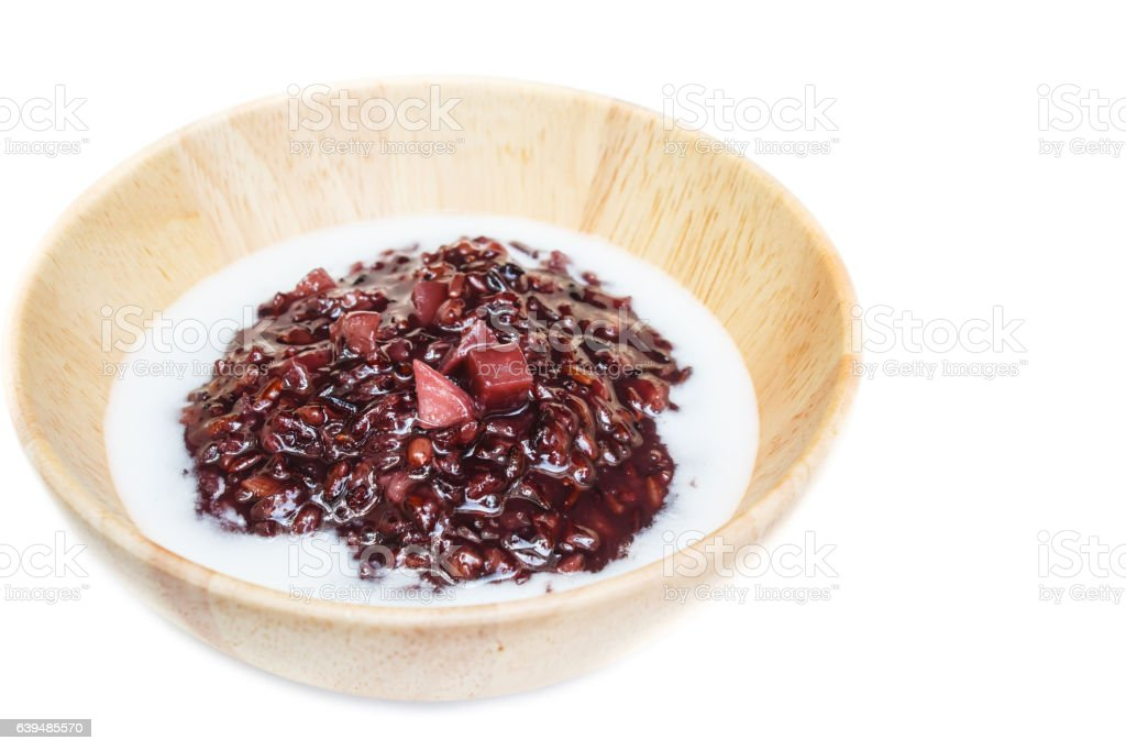 Black sticky rice pudding with taro, Thai dessert. stock photo