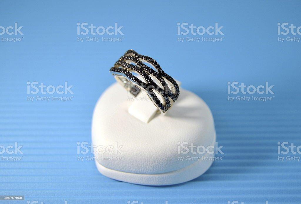 Black stone ring jewelry stock photo