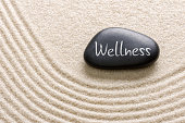 Black stone with the inscription Wellness