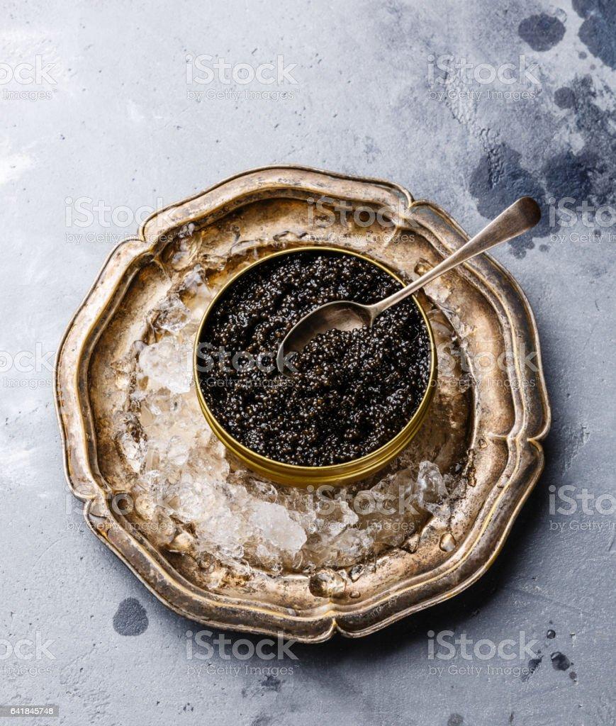 Black Sturgeon caviar on ice stock photo