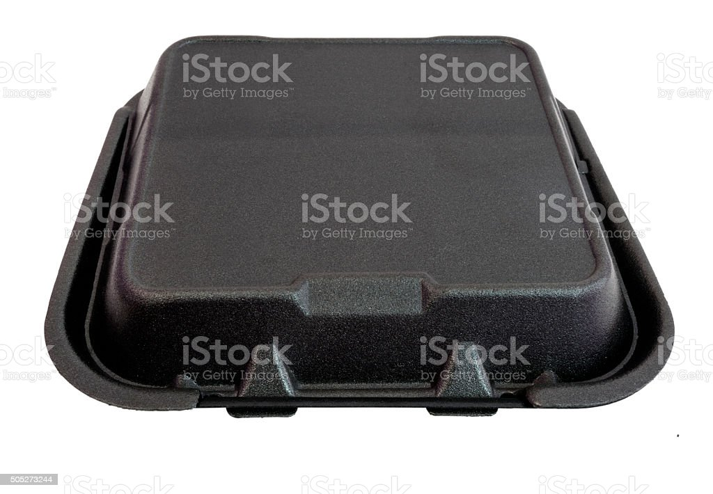 Black Styrofoam Food Container stock photo