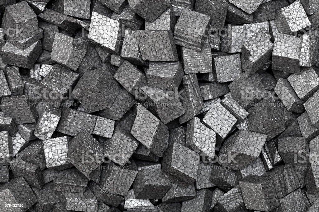 black styrofoam pellets stock photo