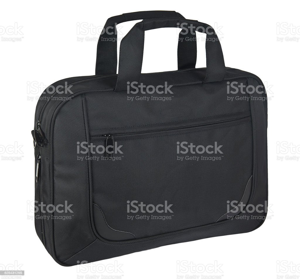 Black suitcase on white background stock photo