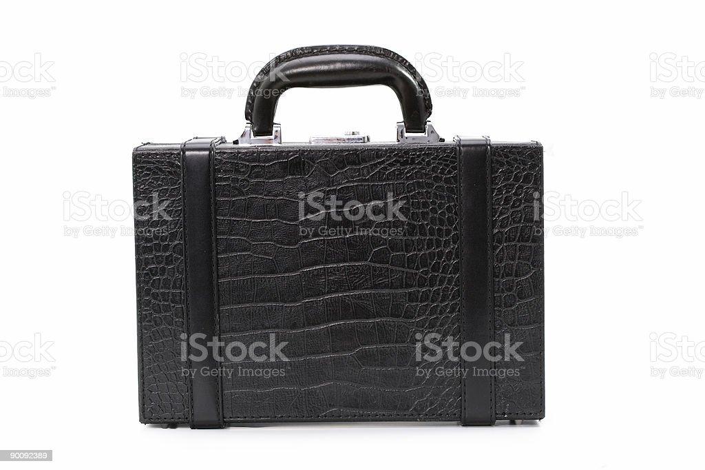 Black suitcase on white. stock photo