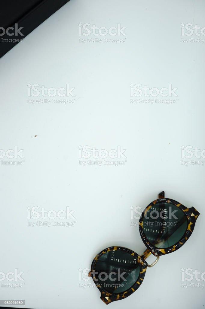 Black sunglasses isolated on white background stock photo