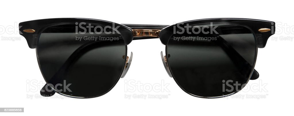 Black sunglasses isolated white background with clipping path stock photo