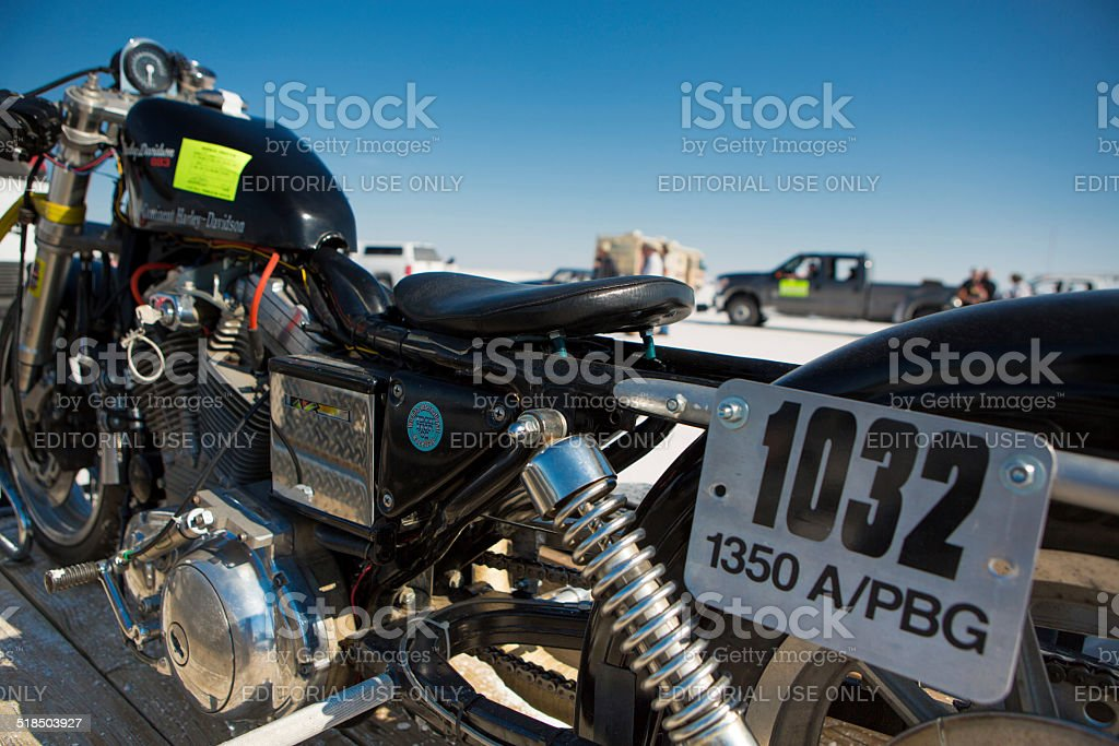 Black super bike during the World of Speed 2012. stock photo