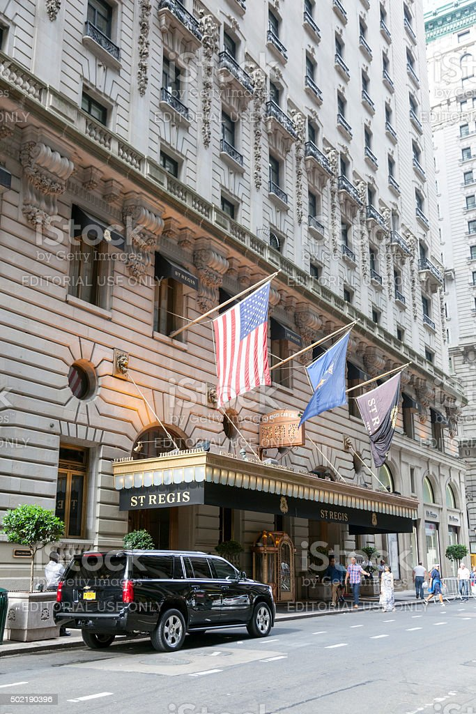 black suv in front of st regis hotel new york stock photo