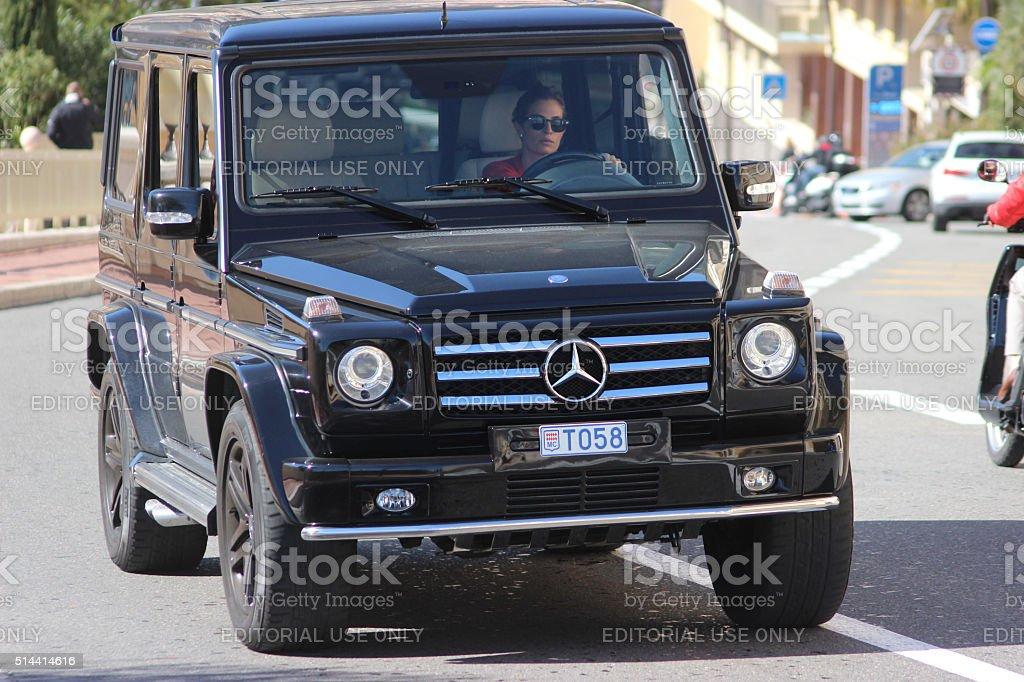 Black SUV Mercedes AMG G 65 in Monaco stock photo
