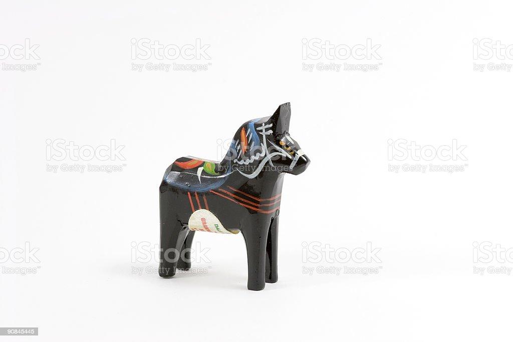 Black Swedish Dala horse stock photo