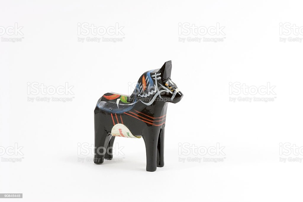 Black Swedish Dala horse stock photo