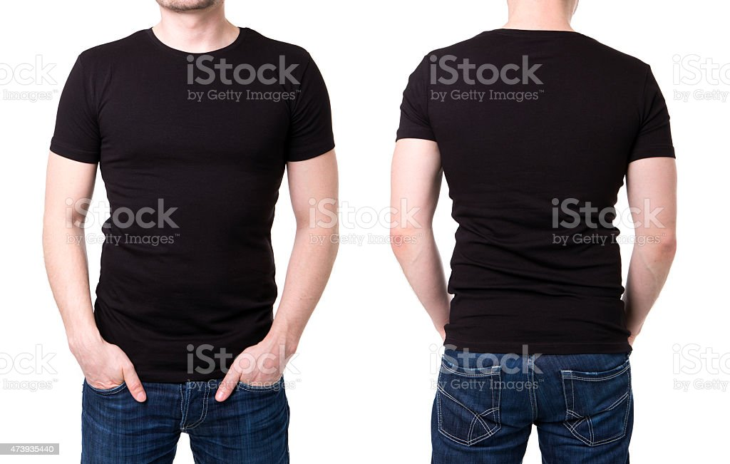 Black t shirt on a young man template stock photo