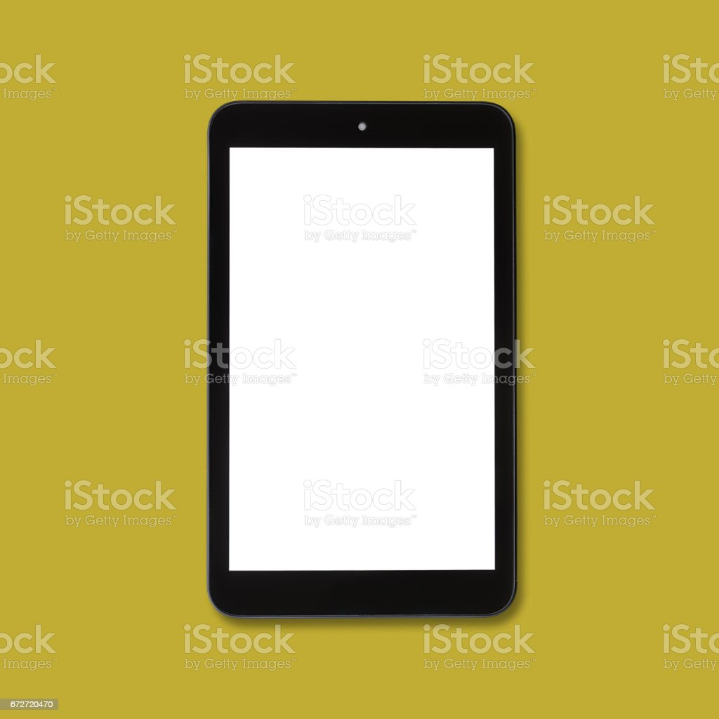 Black tablet computer over coloured background stock photo