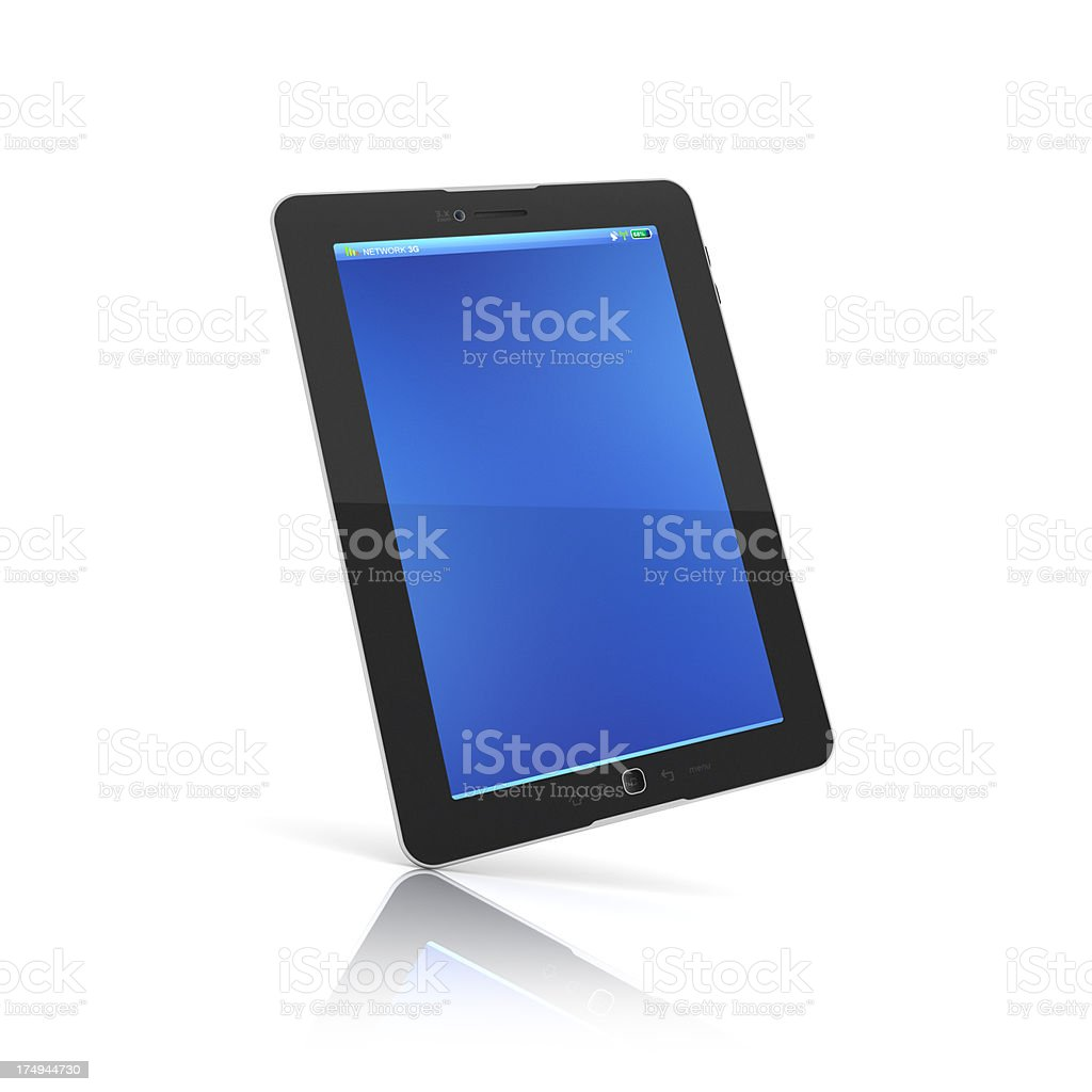 Black tablet positioned diagonally on white background stock photo