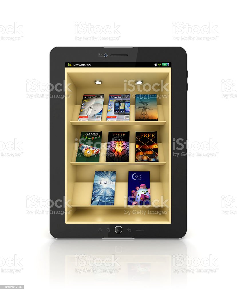 Black tablet showing a book store or library app with shelf stock photo