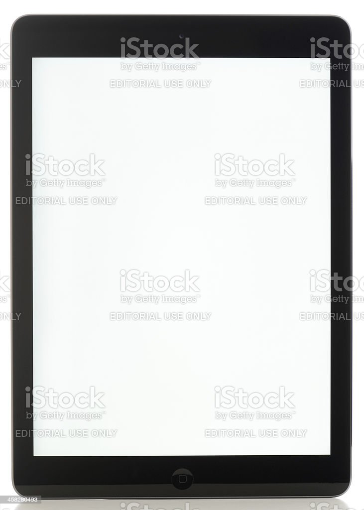 Black tablet with space gray trim and blank screen stock photo