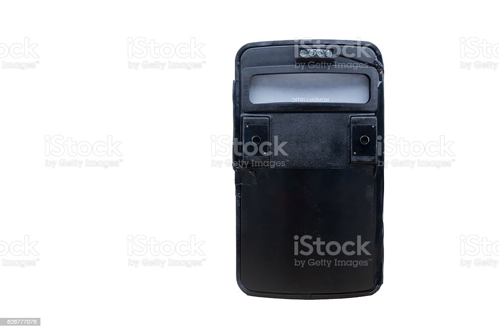 black tactical ballistic shield with flash light isolated on whi stock photo