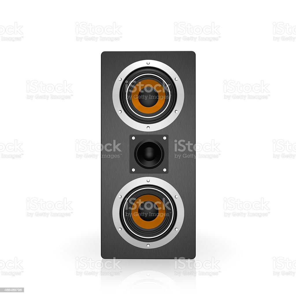 Black Tall Loudspeaker, isolated on a white background stock photo