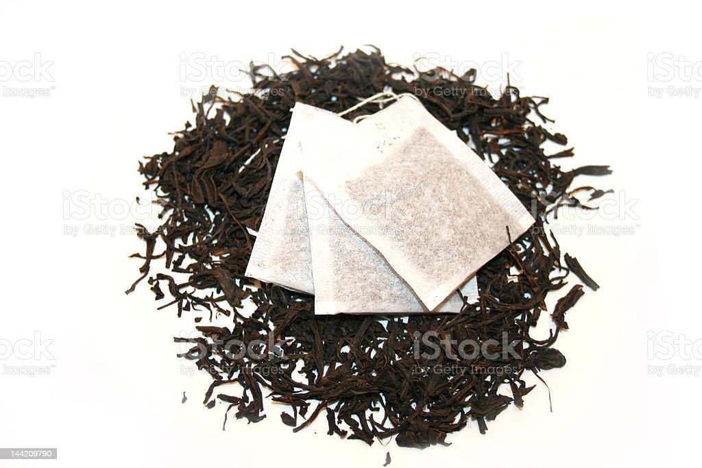 Black Tea and Teabag stock photo