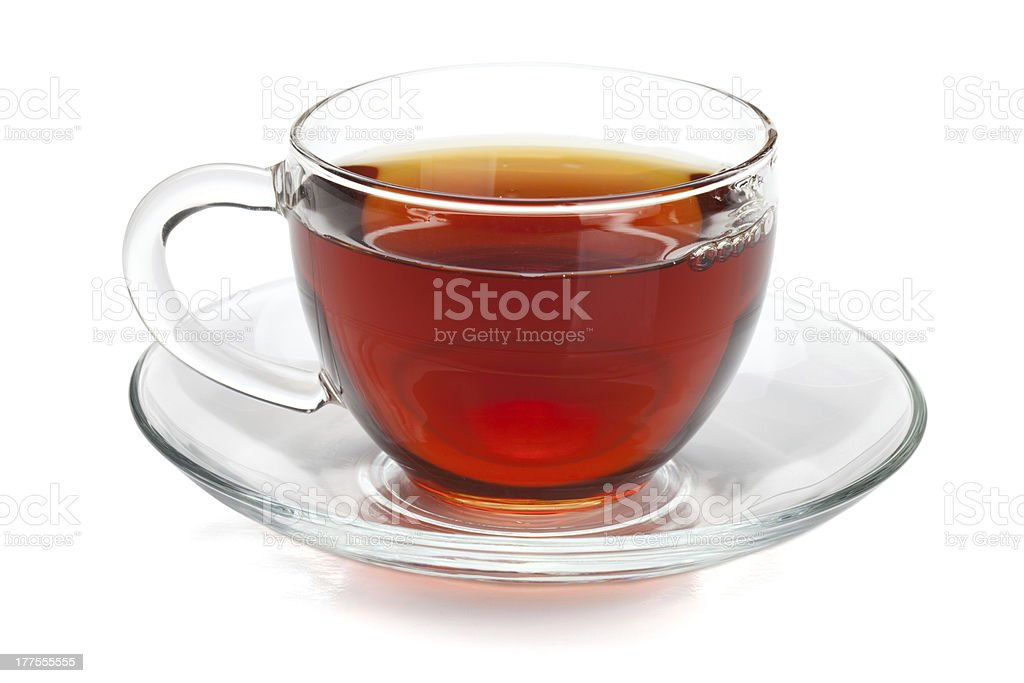 Black tea in glass cup stock photo