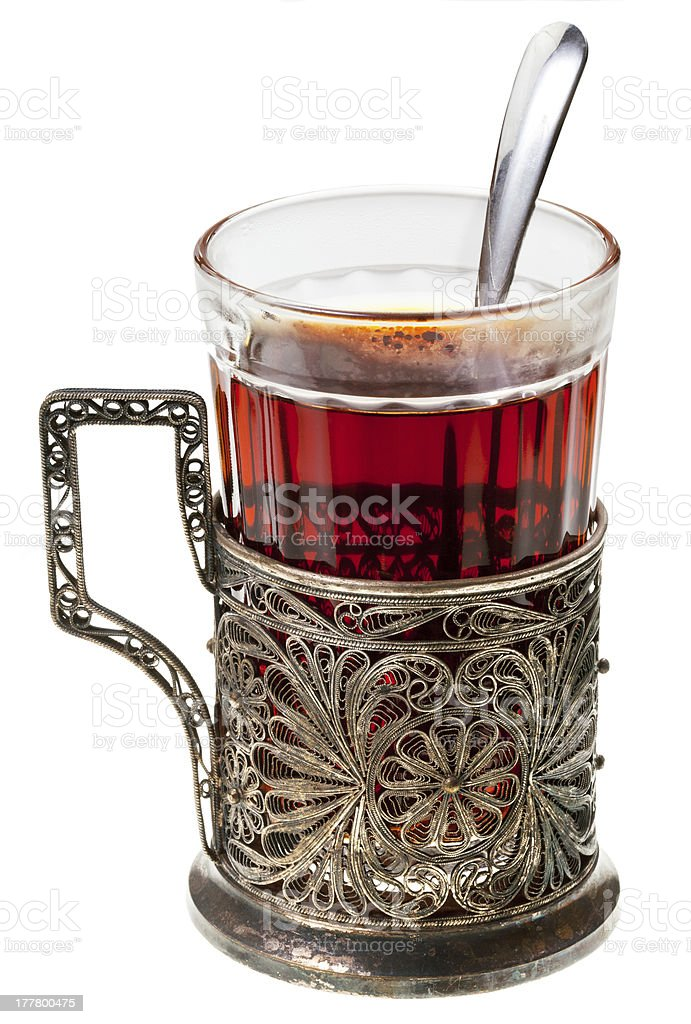 black tea in retro glass royalty-free stock photo