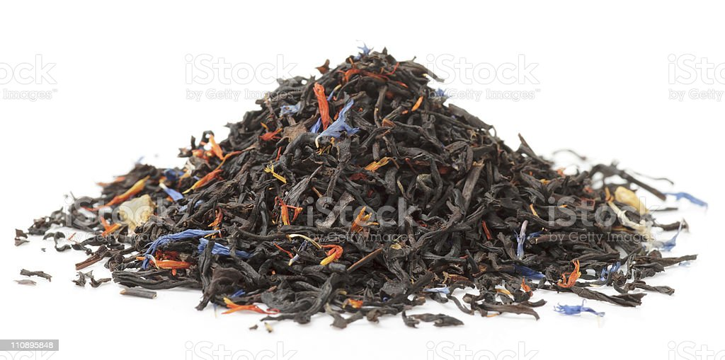 Black tea scented with fruits and flowers royalty-free stock photo