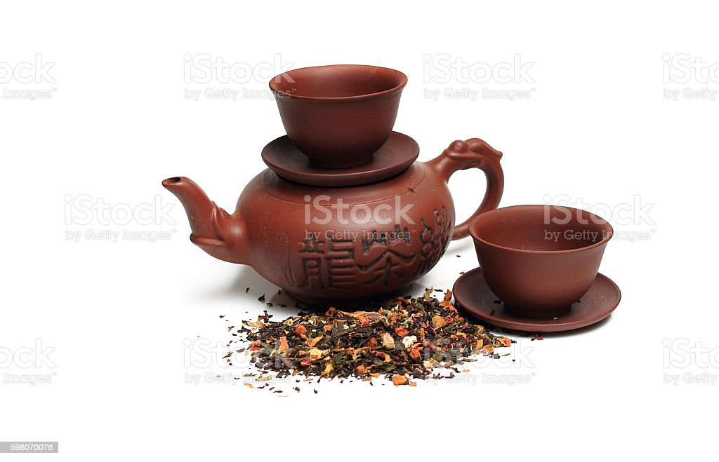 Black tea with ginseng isolated, background stock photo