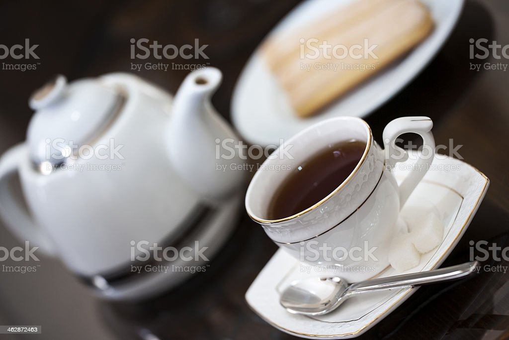 Black tea with sugar cubes royalty-free stock photo