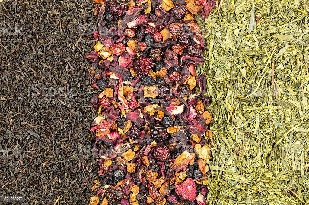 Black tea,Fruit tea and green tea royalty-free stock photo