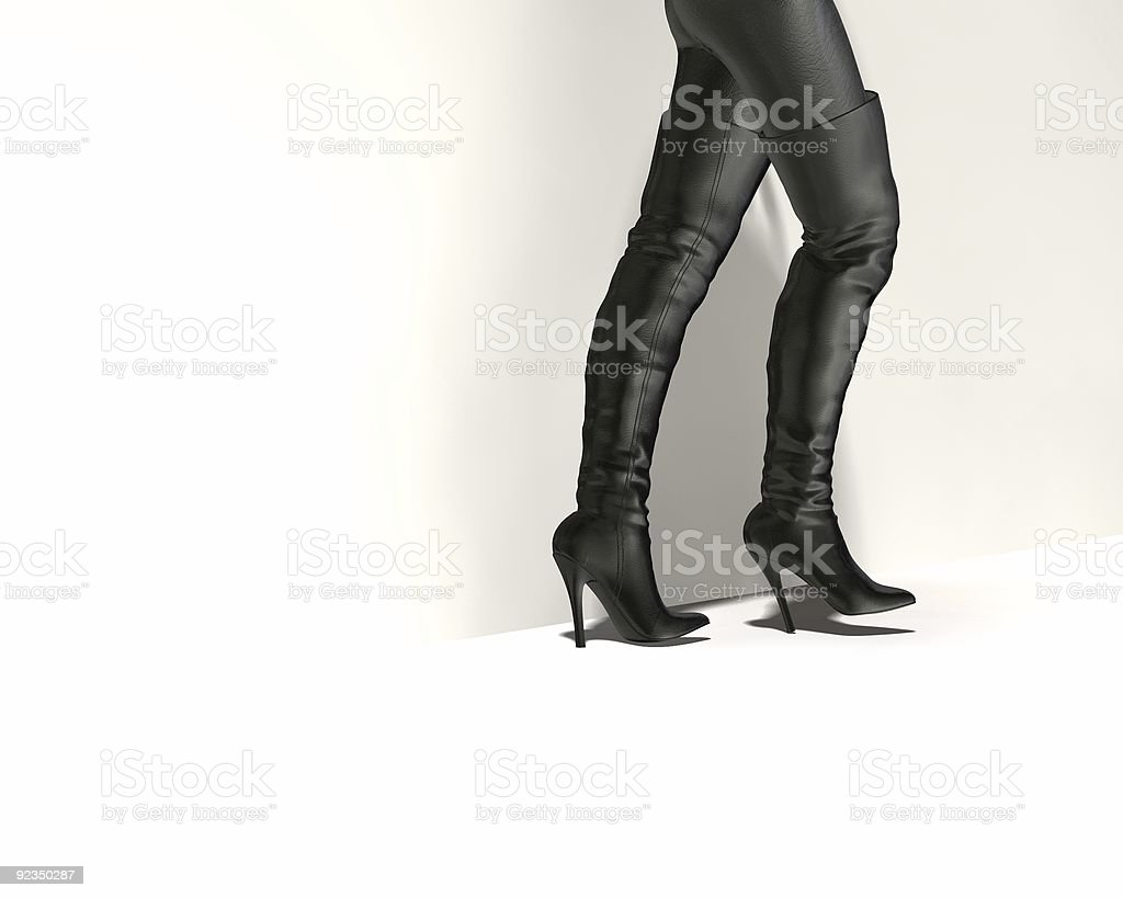Black Thigh Boots 3D royalty-free stock photo