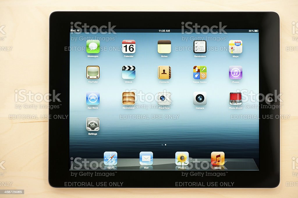 Black Third-Generation Apple iPad on Wooden Surface royalty-free stock photo
