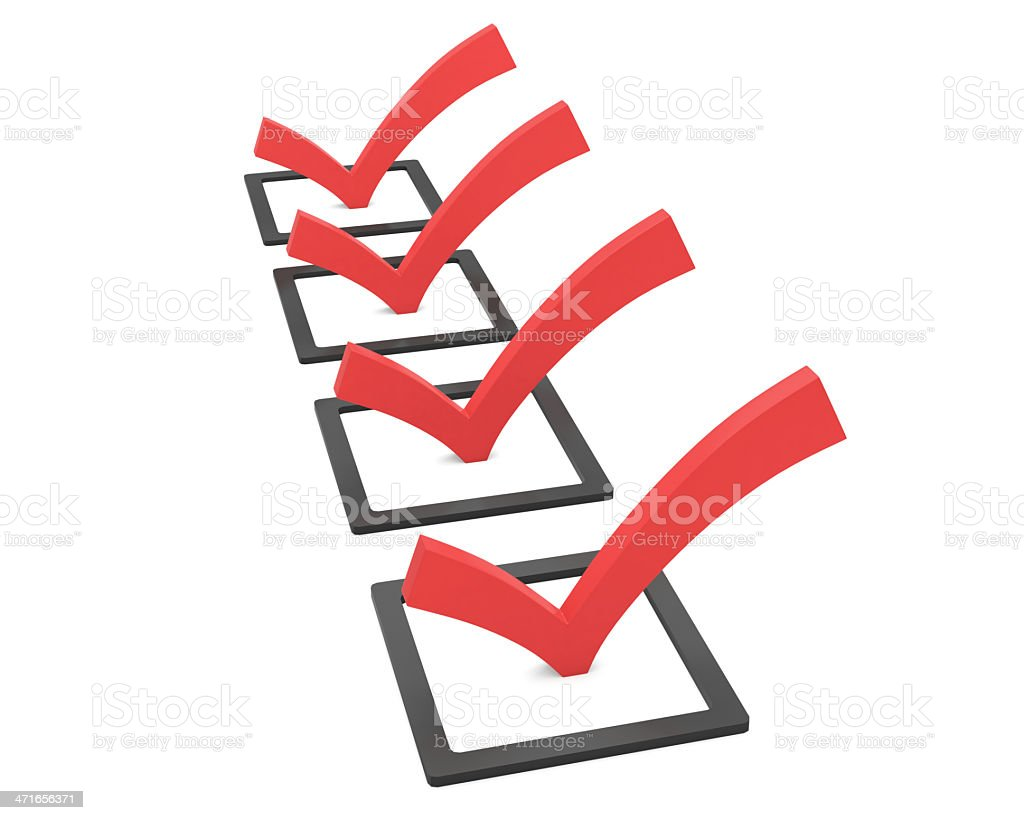 Black tick boxes with red ticks on white background royalty-free stock photo