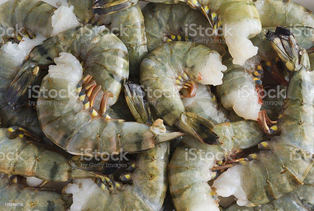 Black Tiger Shrimp, Raw Prawn Seafood Pile, Fresh Crustacean Food stock photo
