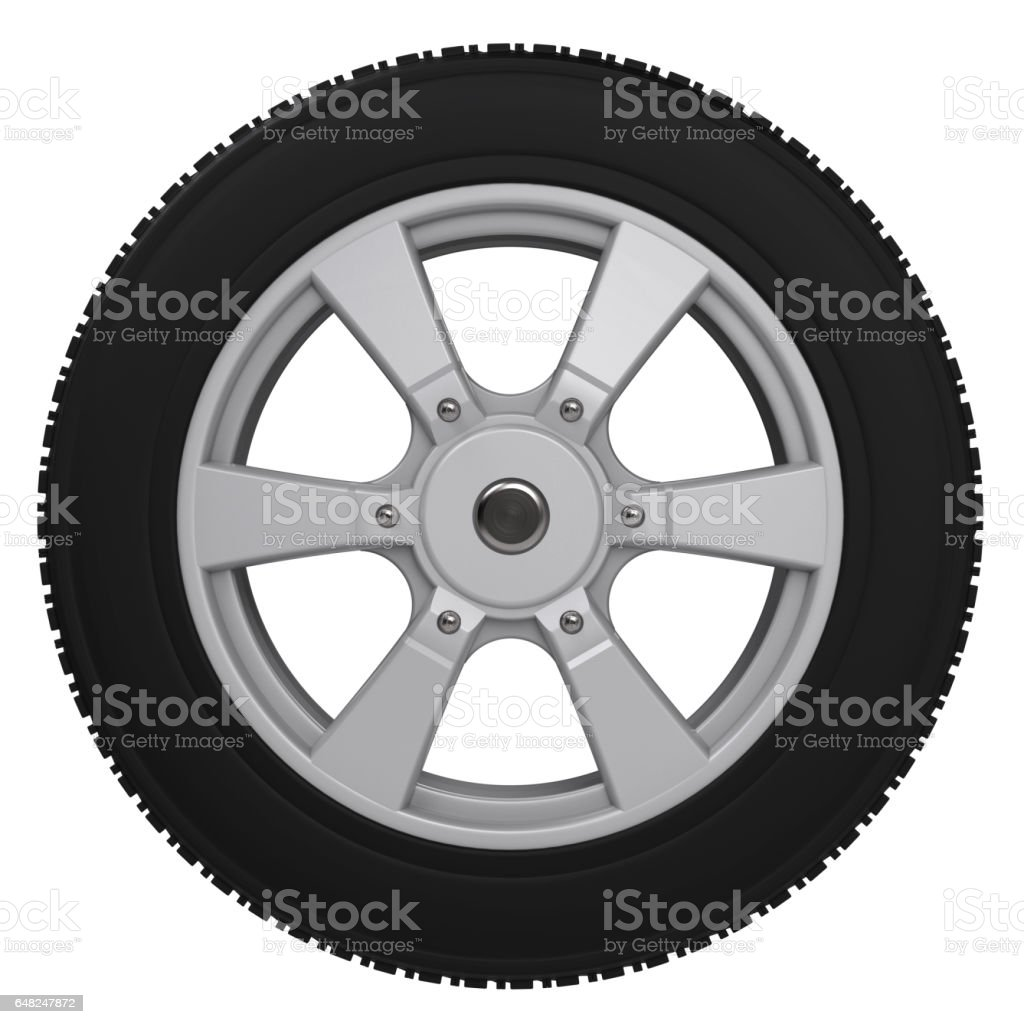 black tire with alloy wheel stock photo