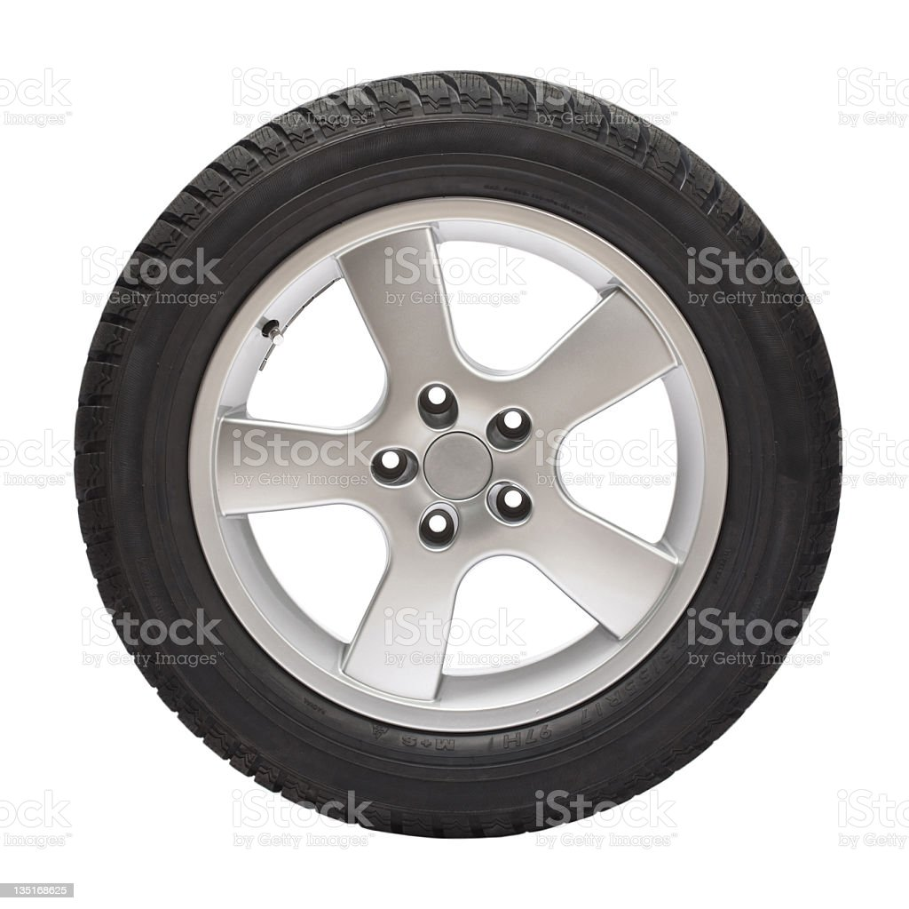 Black tire with steel wheel on white background stock photo
