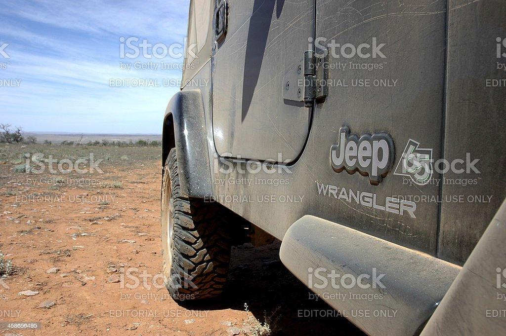 Black TJ Jeep Wrangler on 4x4 track in Flinders Ranges stock photo