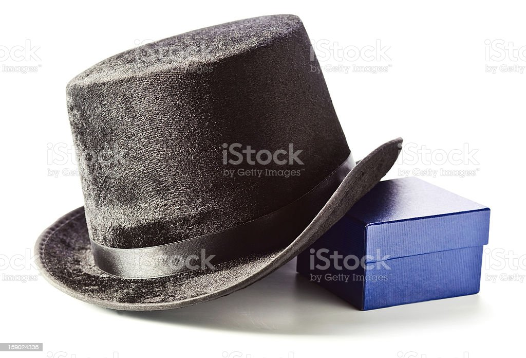 Black top hat and gift box royalty-free stock photo