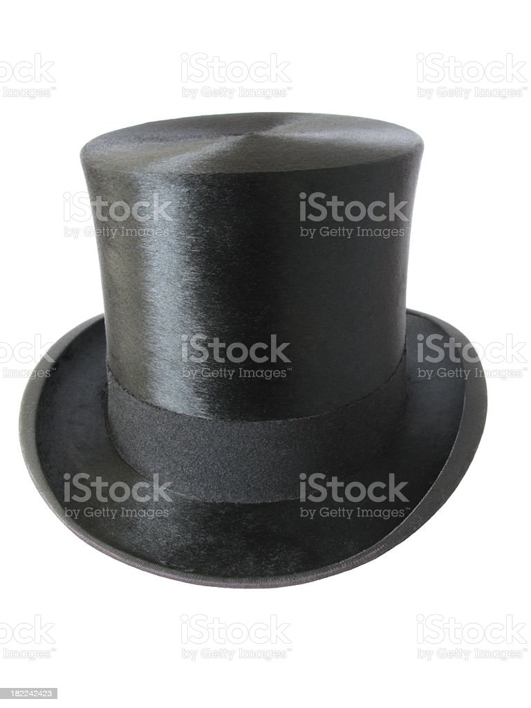 Black Top Hat isolated on white. stock photo