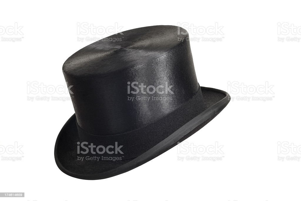 A Black Top Hat on a White Background royalty-free stock photo