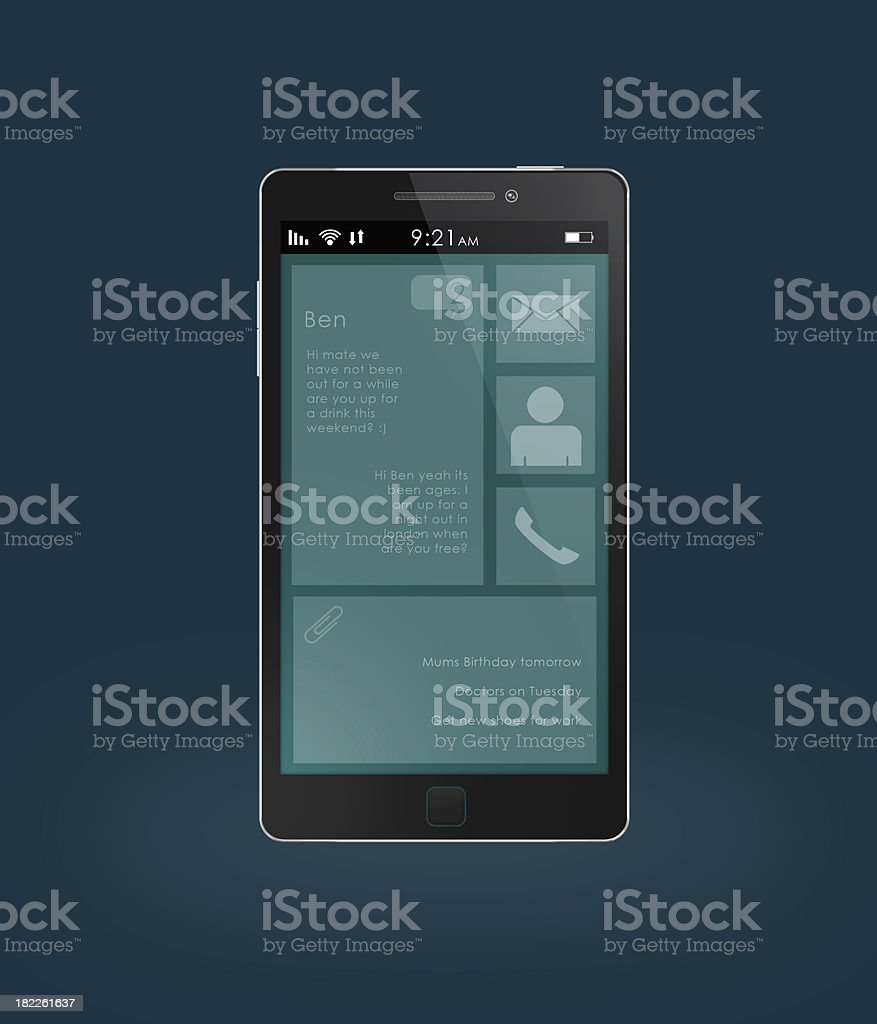Black Touchscreen Smart Phone With Example Screen royalty-free stock photo