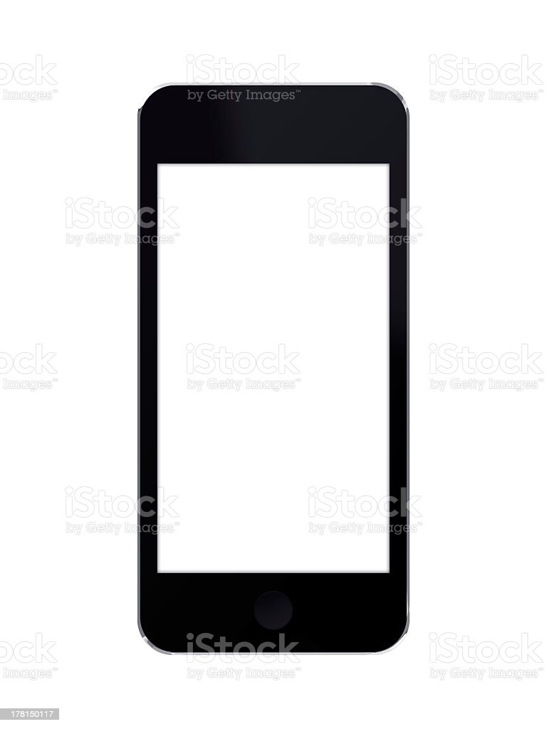 Black Touchscreen Smart Phone With White Screen royalty-free stock photo