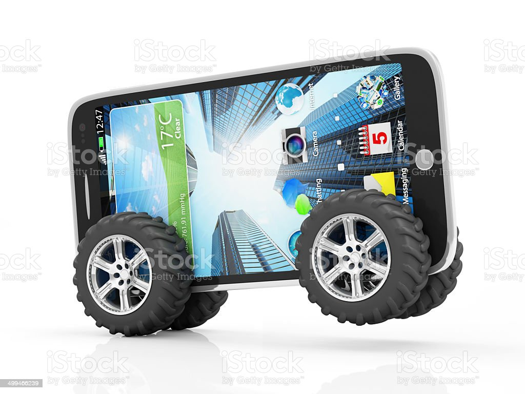 Black Touchscreen Smartphone on Wheels isolated on white background stock photo