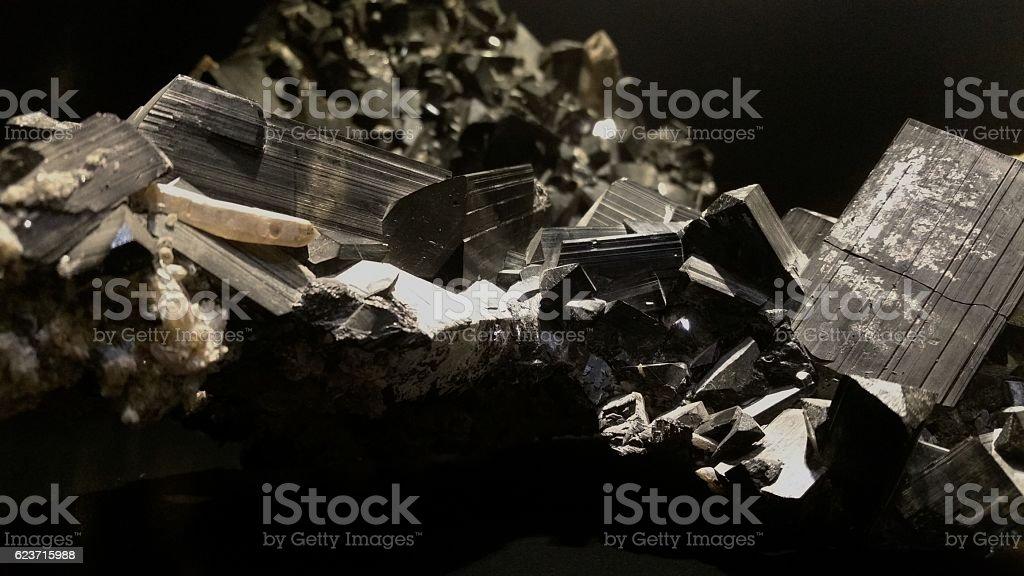 Black tourmaline crystal cluster stock photo