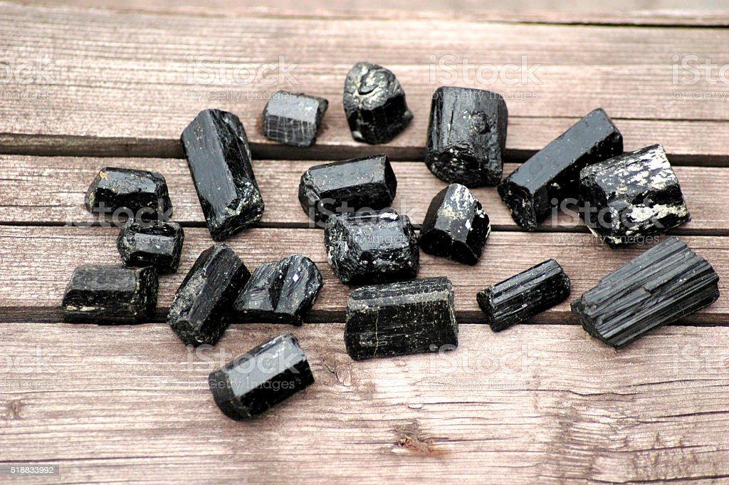 Black tourmaline set stock photo