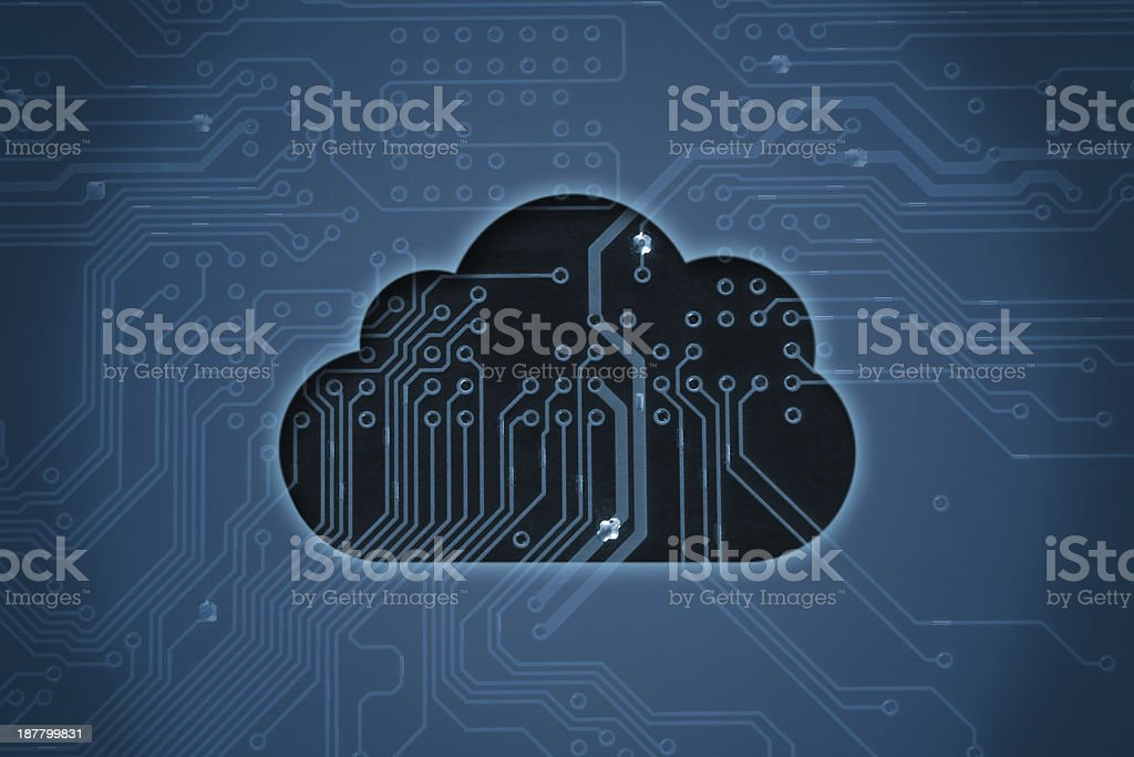 Black transparent cloud on a blue circuit background stock photo